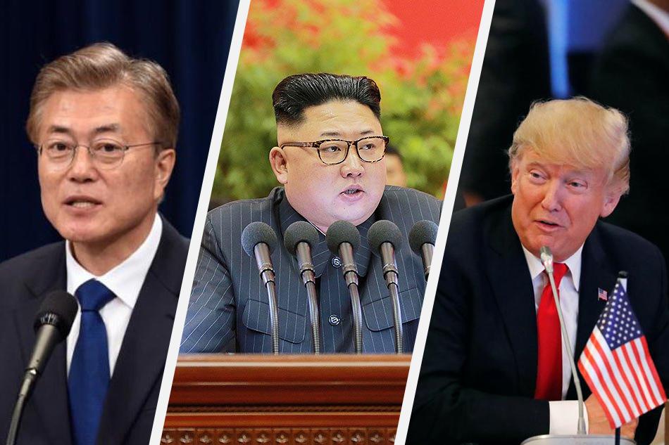Tổng thống Hàn Quốc Moon Jae-in (trái), Tổng thống Mỹ Donald Trump (phải) và Chủ tịch Triều Tiên Kim Jong-un. Ảnh: ABS-CBN News