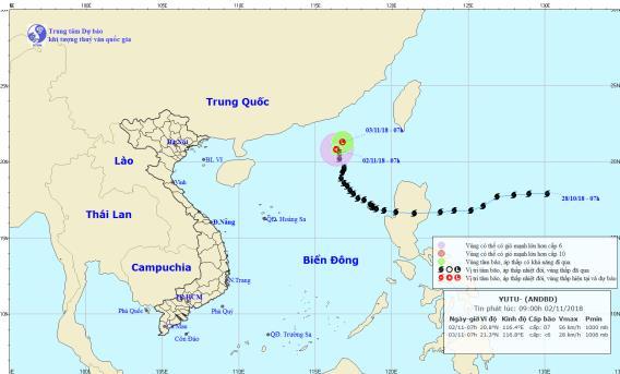 Áp thấp nhiệt đới di chuyển chậm, suy yếu thành vùng áp thấp