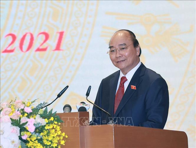 Đồng chí Nguyễn Xuân Phúc, Uỷ viên Bộ Chính trị, Chủ tịch nước, Thủ tướng Chính phủ nhiệm kỳ 2016-2021 phát biểu. Ảnh: Thống Nhất/TTXVN