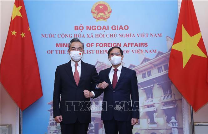 Bộ trưởng Ngoại giao Bùi Thanh Sơn và Bộ trưởng Ngoại giao Trung Quốc Vương Nghị tại lễ đón.
