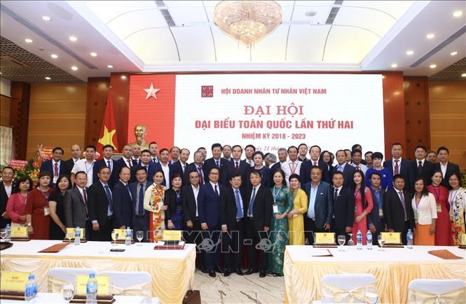 Lễ ra mắt Ban chấp hành Hội doanh nhân tư nhân Việt Nam khoá 2, nhiệm kỳ 2018-2023 (Ảnh: TTXVN)