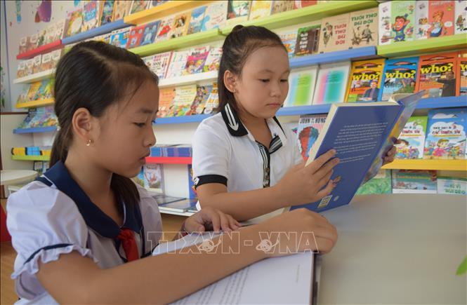 Thư viện container phục vụ học sinh tại trường Tiểu học Mỹ Hòa 1, Đồng Tháp. Ảnh: Chương Đài/TTXVN