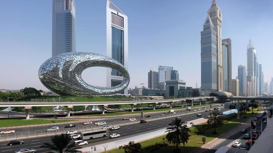 Bảo tàng Tương lai đang được xây dựng ở Dubai. Trong ảnh là hình vẽ phối cảnh bảo tàng. Ảnh: Tổ chức Tương lai Dubai