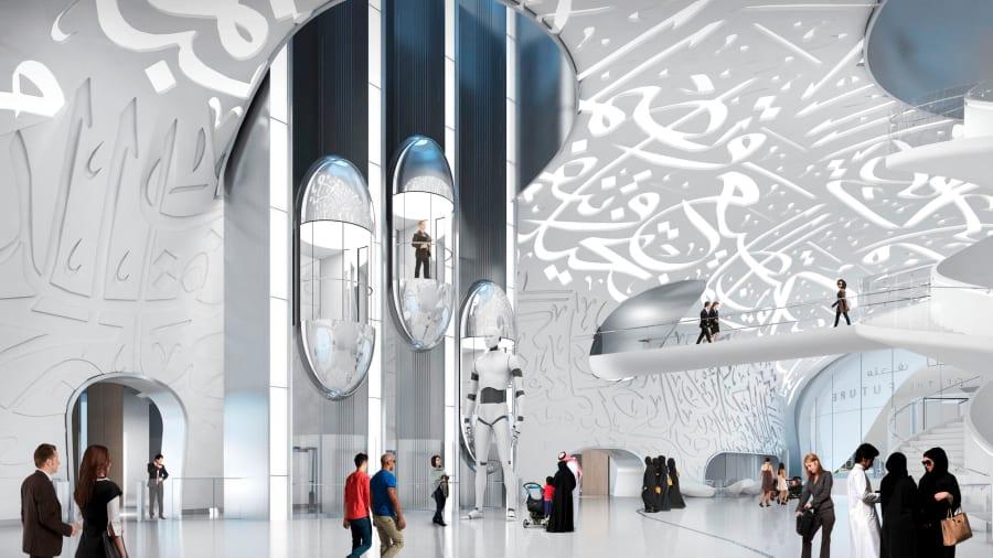 Bảo tàng cao 78m, gồm 6 không gian trưng bày và một thính phòng. Ảnh: Tổ chức Tương lai Dubai