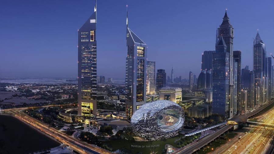 Phối cảnh bảo tàng cạnh tổ hợp Tháp Emirates. Ảnh: Tổ chức Tương lai Dubai