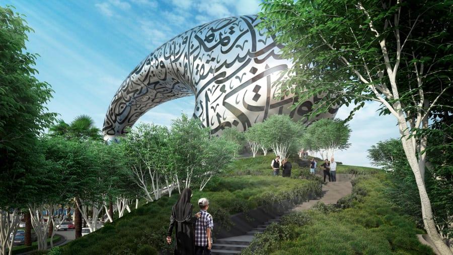 Bảo tàng nằm trên một ngọn đồi nhỏ đầy cây, tạo cảm tác tách biệt khỏi cuộc sống thành thị.  Ảnh: Tổ chức Tương lai Dubai