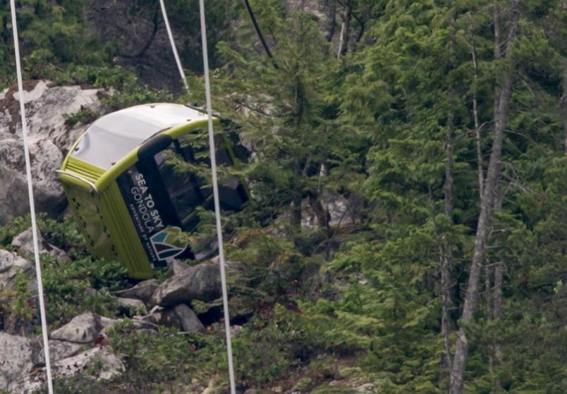 Gần 30 cabin cáp treo rơi sau sự cố dây cáp đứt. Ảnh: CNN