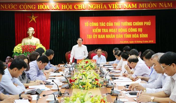 Đồng chí Lê Vĩnh Tân, Ủy viên Trung ương Đảng, Bộ trưởng Bộ Nội vụ chỉ đạo buổi làm việc.