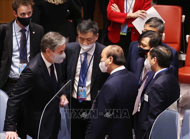 Chủ tịch nước Nguyễn Xuân Phúc và Ngoại trưởng Mỹ Antony Blinken tại phiên họp. Ảnh: Thống Nhất/TTXVN.