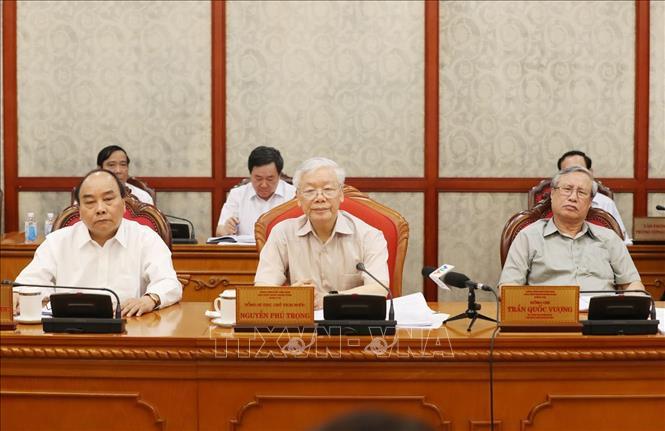 Tổng Bí thư, Chủ tịch nước Nguyễn Phú Trọng chủ trì họp Bộ Chính trị. Ảnh: Trí Dũng/TTXVN