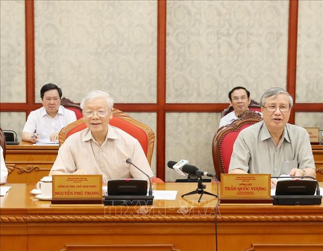 Tổng Bí thư, Chủ tịch nước Nguyễn Phú Trọng phát biểu tại cuộc họp Bộ Chính trị. Ảnh: Trí Dũng/TTXVN