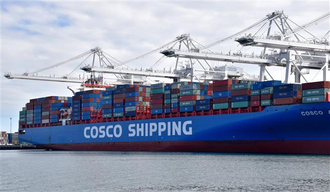 Container hàng của Công ty vận tải Trung Quốc COSCO tại cảng Long Beach, Los Angeles, Mỹ ngày 27/2/2019. Ảnh: THX/TTXVN